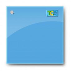 Стеклянная магнитно-маркерная доска (Голубой цвет) 450*450 мм