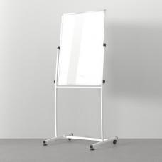 Флипчарт маркерный, изогнутый, мобильный на колесиках, поворотный 750х1000 белый