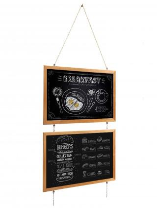 Blackboard slate in a wooden profile on a chain, 75x55 cm