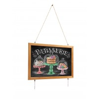 Blackboard slate in a wooden profile on a chain, 75x55 cm
