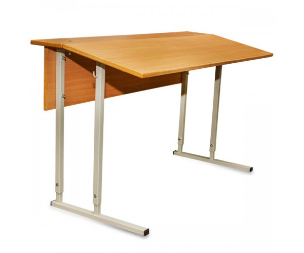 Convertible Double-Seater Desk GARANT With Inclined Table Top And Wood Facing