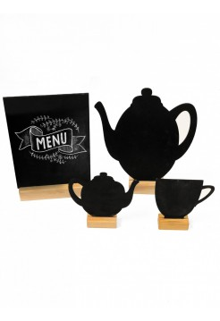 Chalk menu black on a wooden stand