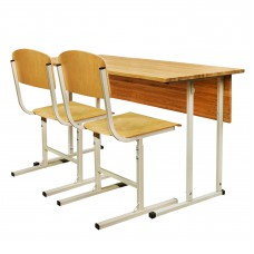 """Set of desk + 2 chairs student double """"EXCLUSIVE"""" adjustable"""