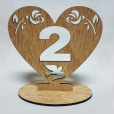 "wedding table number for ""Heart"", 70x100 mm"