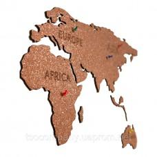 Пробковая карта мира 1200*400мм